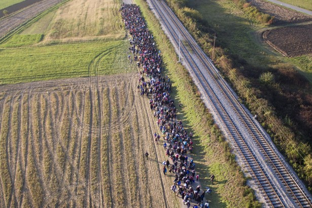 In this aerial view photo,  migrants move past the railroad, after crossing from Croatia, in Rigonce, Slovenia, Monday, Oct. 26, 2015. Thousands of people are trying to reach central and northern Europe via the Balkans, but often have to wait for days in mud and rain at the Serbian, Croatian and Slovenian borders. (AP Photo/Eldar Emric)